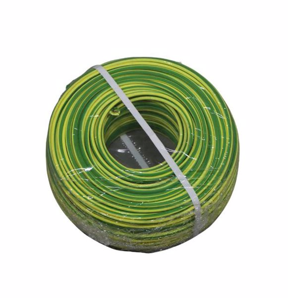 Afbeeldingen van Aardedraad B2CA 6mm² H07Z1-K groen/geel vertind 100m